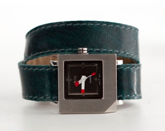 Teal leather watch, aqua blue watch, blue double wrap watch  - the CUBE