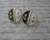 anchor earrings - anchor studs - gold, black, cream -