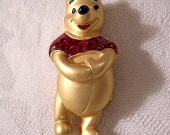 Winnie The Pooh Pin Brooch Gold Tone Vintage Disney Red Glaze Satin Finish