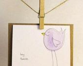 Handmade Thank You Card - Hey. Thanks Birdie Card