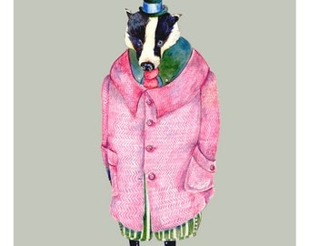 Giclee Print Badger in a Pink Coat 8x11 illustration print