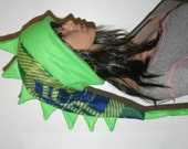 Snowboarding Hat Dinosaur Dragon Tail Hat Green Blue Spiked Fleece Winter Ski