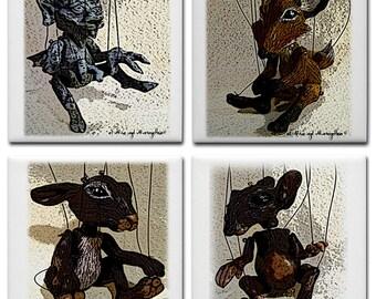 Marionettes ceramic tile coaster set of 4