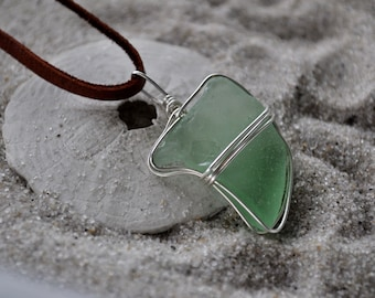 Seafoam Green Seaglass Necklace - Sterling Silver Wire Wrapped Pendant on Deerskin Cord Necklace