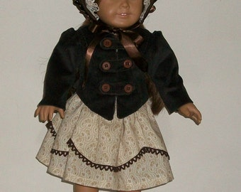 1850s Historical Doll Dress, Waistcoat, and Bonnet fits most 18inch dolls