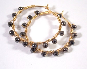 Hoop Earrings Gold Jewelry Gemstone Earrings Natural Stone Jewelry Hematite Black and Gold Wire Wrapped Earrings