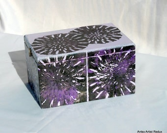 Flower Burst Box, reuse cigar wood with hand stamped print collage purple and black