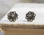 Flower earring studs, oxidized sterling silver post earrings, filigree jewelry, dark silver earrings, open-work earrings