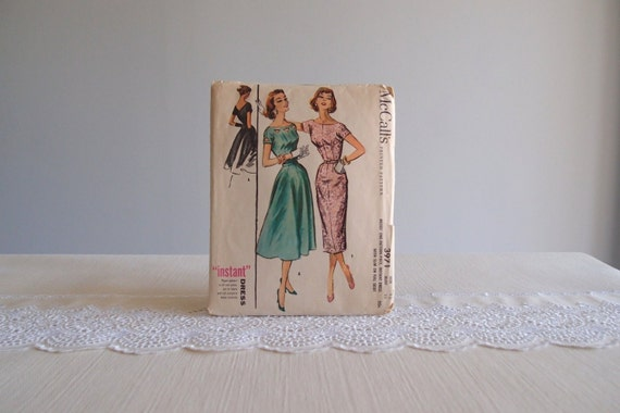 1950s sewing pattern / 1956 McCall's Dress pattern with full or slim skirt & cut-out detail 3971