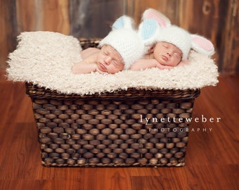 Twin Photo Prop - Newborn Photo Prop - Twin Bunny Hats - Newborn Twin Hats - Bunny Photography Prop - Twin Rabbit Hats - Easter Hat