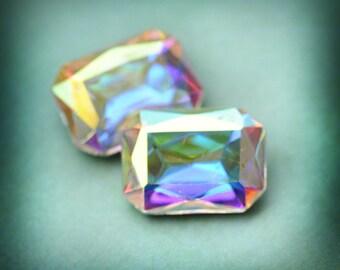 18x13mm Octagon Crystal AB Glass Jewels Stones Gems, Foiled Backs, Clear AB 18x13 Octagons, Quantity 2