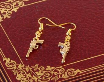 Golden Gun Earrings, Revolver Earrings, Pistol Earrings, Gun Jewellery