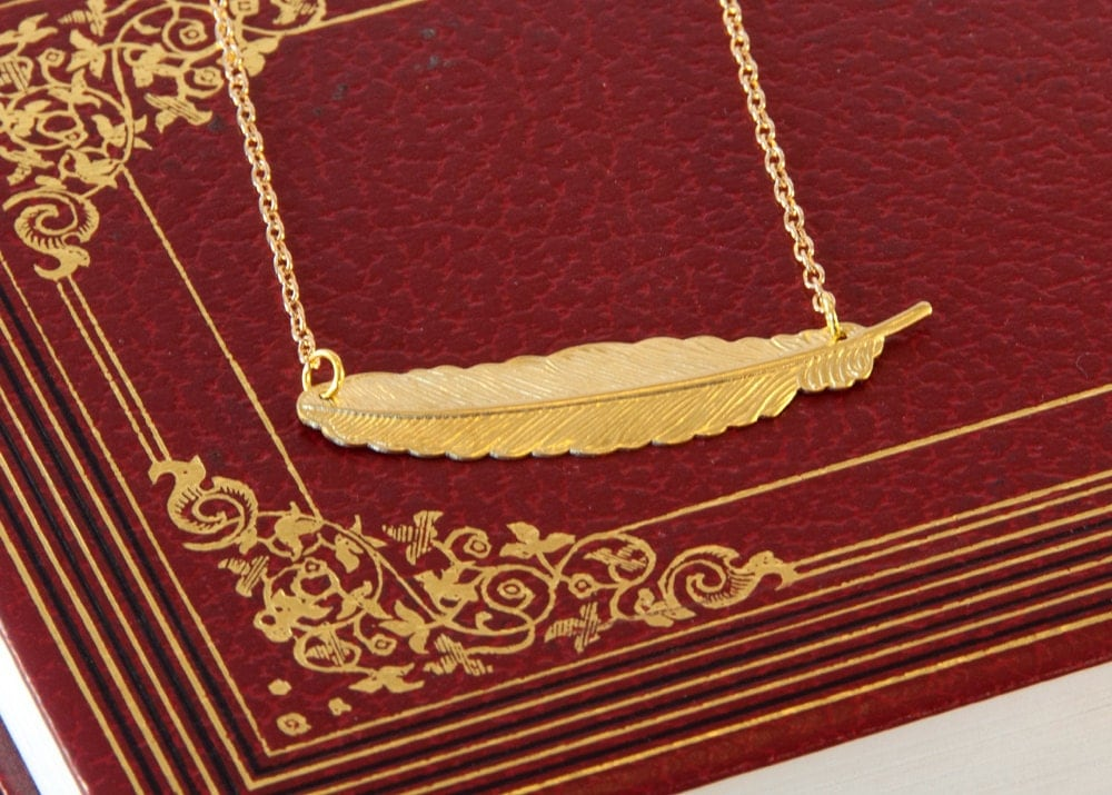 Gold Feather Necklace - Sideways Feather Necklace - Brass Feather   Pendant