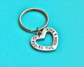 I love you to the moon and back, hand stamped keychain