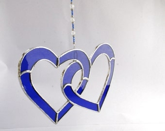 Blue Love Heart Stained Glass Suncatcher Soul Mate, Wedding Gift, Birthday Gift  Double Loveheart- Made in Ireland - Tiffany
