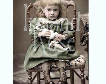 Sophie-Vintage French Photo-Girl and her Doll-Digital Image Download