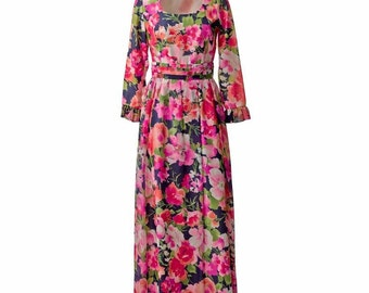 Blue and Fuschia Floral Vintage Maxi Dress.