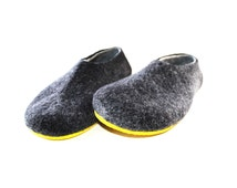 Felted Slippers for Men, Rubber Soled, Handmade House Shoes, Gifts for Him Gift Ideas for Men, Winter accessories, Mens Sizes US 6.5 - US 15