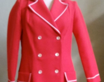 "Koret of California Red Jacket with White Cording Trim Bust 38"" Waist 34"""