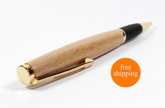 European Beech Longwood Style Ballpoint Pen with 24kt Gold Accents, Sleeve, and Gift Box (FREE SHIPPING)