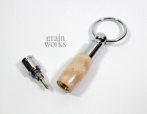Micro Driver Key Chain - Figured Maple Wood with Chrome Accents