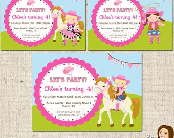 PRINTABLE Pink Cowgirl Party Invitations (Character of your choice) #568