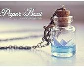 Paper Boat bottle Necklace. Ocean necklace, Glass Vial Necklace. Glass Bottle Pendant. Cute Necklace. Miniature bottle, origami boat pendant