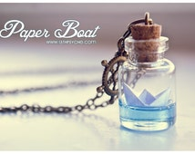 Paper Boat bottle Necklace. Origami boat pendant, Ocean necklace, Glass Vial Necklace. Glass Bottle Pendant. Cute Necklace. Miniature bottle