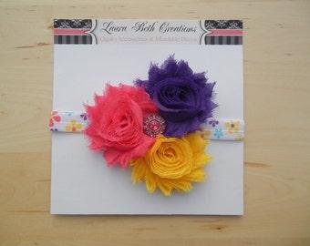 Shabby Chic Triple Rose Headband - Hot Pink/Grape/Yellow - Baby Headband - Newborn Headband - Childrens Headband - Flower Headband