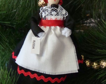Russia clothespin ORNAMENT doll - Black, white and red dress