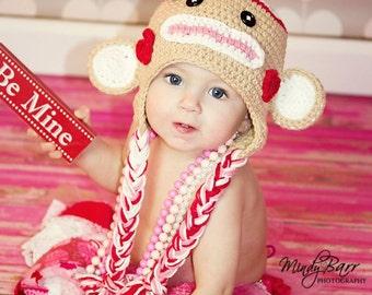Valentine sock monkey hat, newborn valentine hat, toddler sock monkey, valentine photo prop, Valentines day hat, baby sock monkey hat