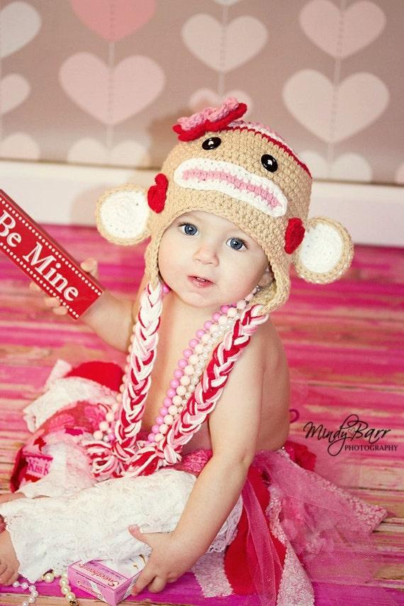 Crochet Valentine Sock  Monkey Hat  Newborn to Toddler sizing  Photography prop valentine hat valentine photo prop