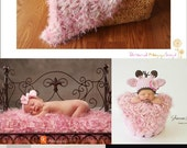 Pink Baby Blanket Photography Prop Photo Props 'Icing' PuffPelt Rug in Ivory, Pale Rose for Girls