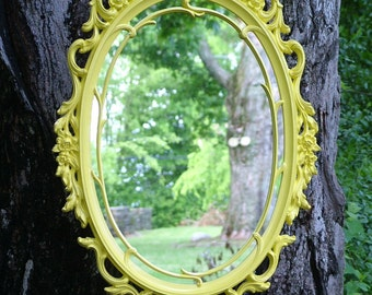 Ornate Yellow Wall Mirror,Size  29 x 18 OR CHOOSE COLOR,Nursery Mirror,Accent Mirror,Hollywood Regency Mirror