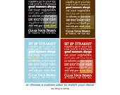 Manners Kitchen Rules Subway Art Print Poster . Dining Room Home Decor . Cottage Style Scroll Roll Family House Rules Typography Large Sign