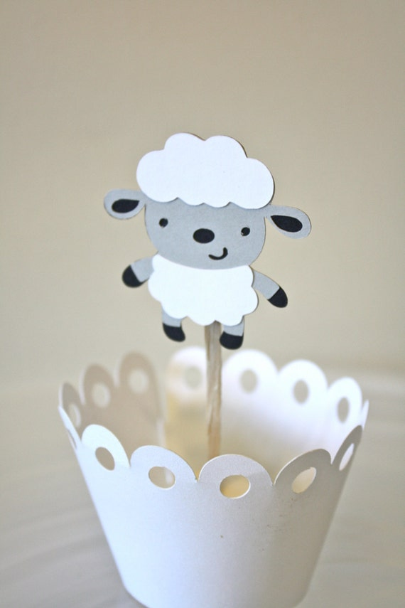 Items similar to Baby Sheep Cupcake Toppers / Cake Topper ...