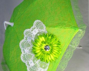 Sun Parasol - Lace Umbrella - Girls Lime Green Sun Umbrella with Lime Green Daisy - Style 79