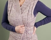 KNITTING PATTERN PDF for Adult Cabled Vest with ribbed shawl collar