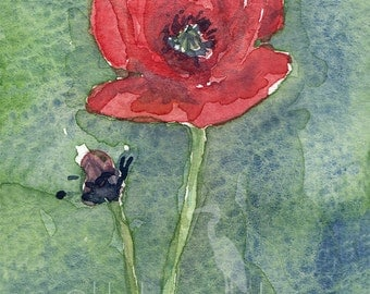 watercolor painting- Poppy- flower art print