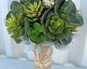 Wedding bouquet artificial succulent bridal bouquets burlap raffia