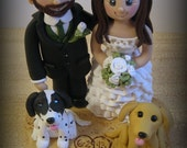Wedding Cake Topper, Custom Cake Topper, Beach Theme, Bride and Groom with two Dogs, Personalized, Polymer Clay Keepsake