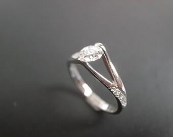 Engagement Ring Designers / Diamond Engagement Ring / Custom Engagement Ring / Wedding Ring / 0.40ct Diamond Ring / Jewelry 14K White Gold