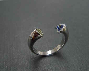 Heart Ring, Heart Shaped Ring, Double Heart Ring, Wedding Ring 14K Gold, Blue Sapphire Ring, Blue Sapphire Engagement Ring, Peridot Ring