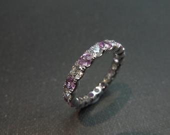 Eternity Wedding Diamond and Pink Sapphire Ring in 14K White Gold Diamond Wedding Band, Diamond Engagement Ring, Diamond Ring, Diamond Band