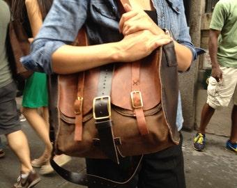 Overnight Tote, Brown Leather Travel Tote, Handmade Leather Travel Bag, Custom Roomy Weekender Overnight Travel Tote Hand Sewn