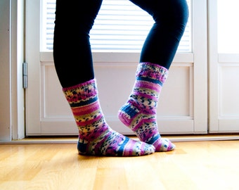 Wool blend hand knit socks - stripes in pink, blue and green