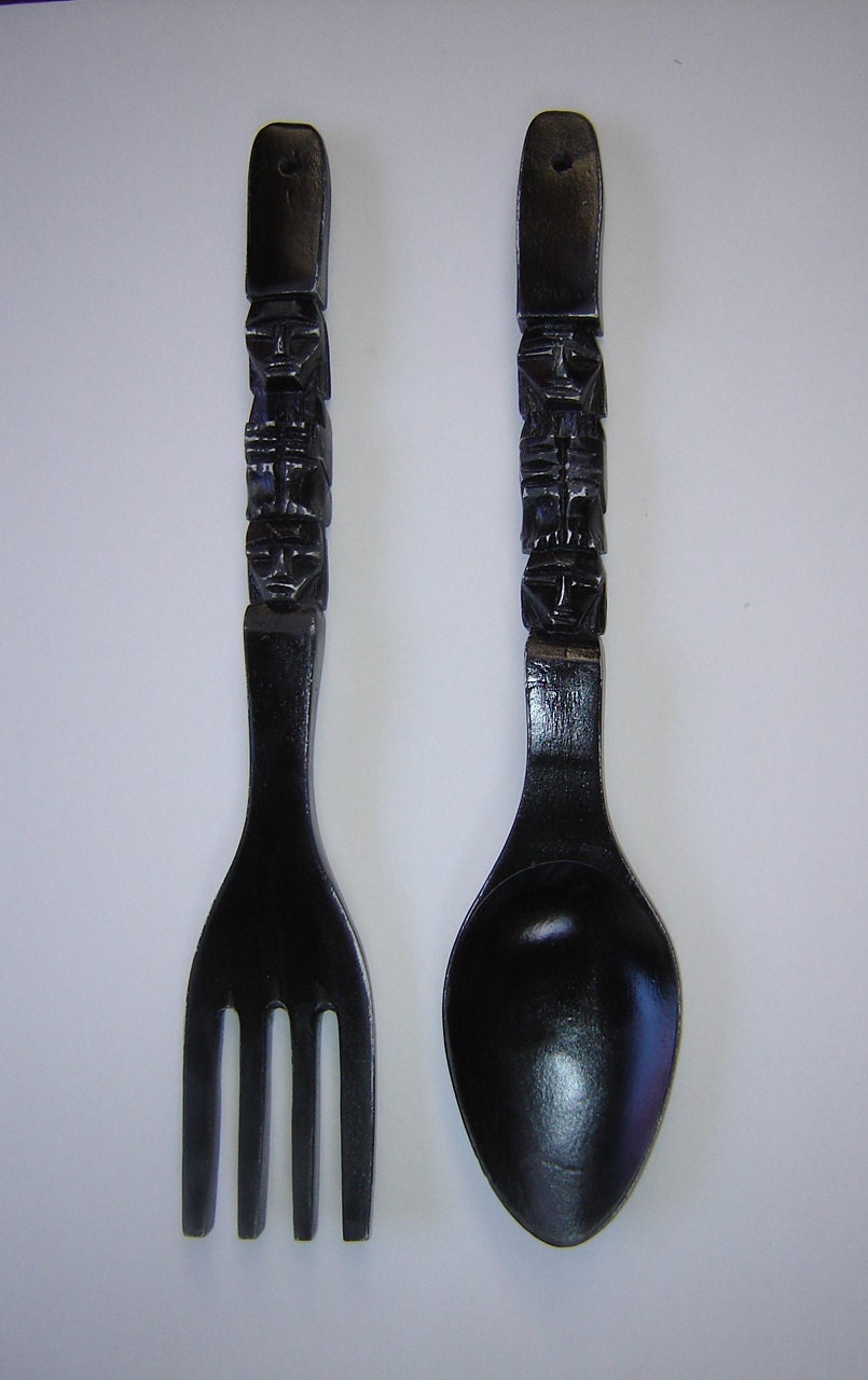 Large Fork And Spoon Wall Decor Large Carved Wood Fork And Spoon Wall Art Painted Black