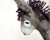 Vania - Felt Donkey. Art Animal Marionette, Handmade Puppet, Felted Animals, Stuffed Toy. grey gray purple MADE TO ORDER