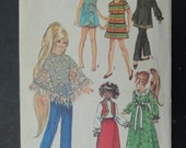 Doll patterns, Simplicity 9138 Size 15 1/2, Doll Wardrobe, 1970s Doll clothes patterns