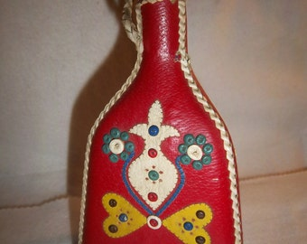 Vintage Red Leather Covered Decanter/ bottle European Motif